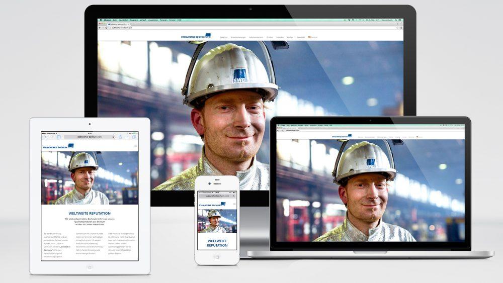 Neuer Internetauftritt der Stahlwerke Bochum GmbH ab September 2015 mit automatischer Anpassung an mobile Endgeräte  Foto: SWB