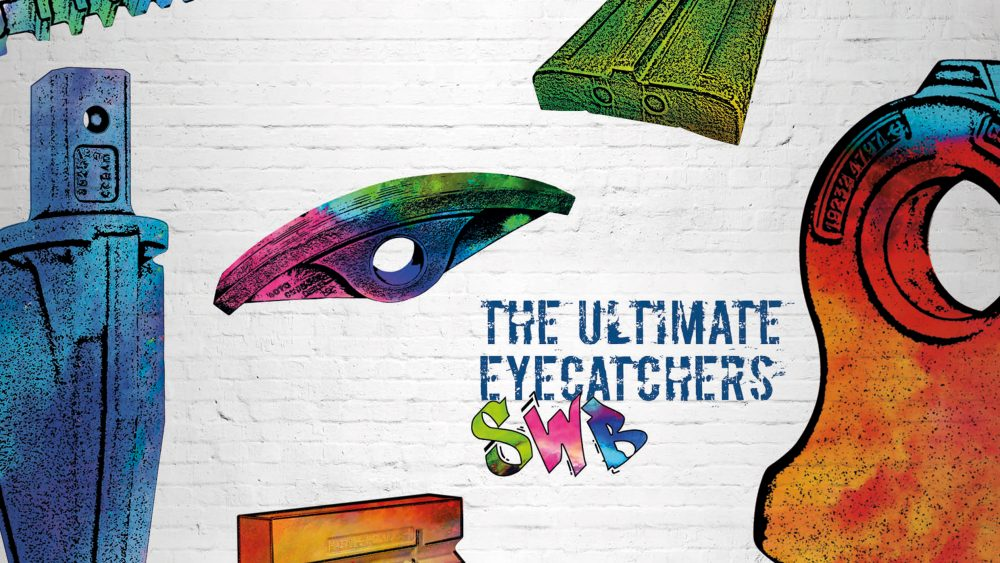 The new SWB strapline 'The Ultimate Eyecatchers' presents the company's highly wear-resistant castings in a colourful graffiti style.
